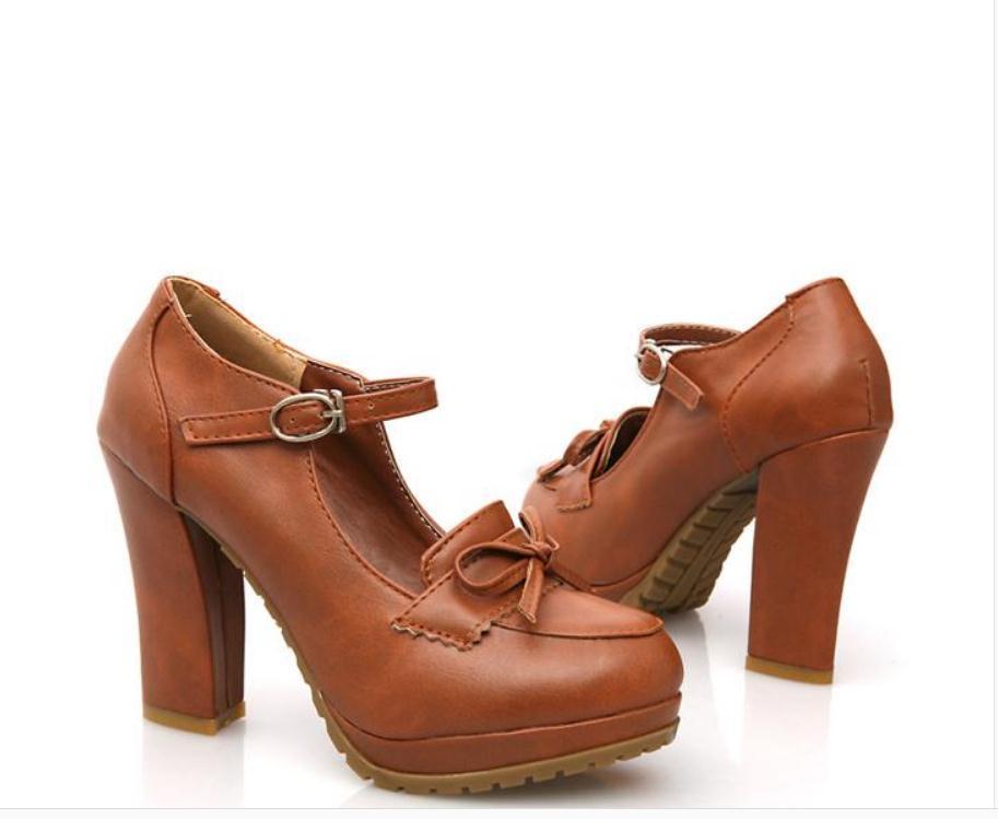 2020 весной и осенью с новой модой стиля Высокого каблуком Грубых пятками круглых головами водонепроницаемыми таблицами бантом обуви Женской @ ZX14