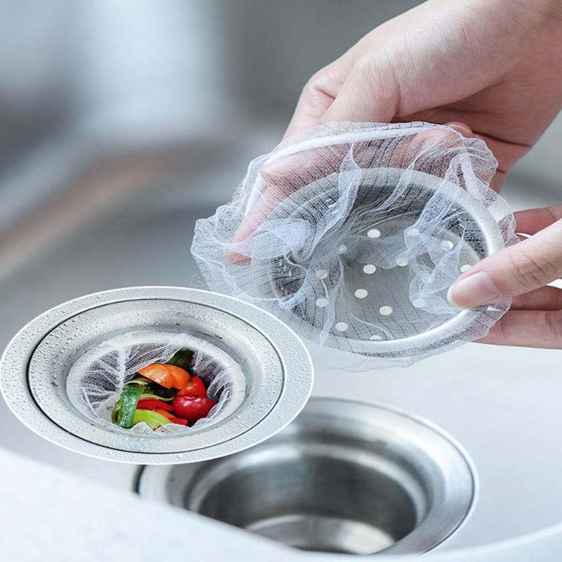 100pcs de drenaje del filtro Accesorios bolsa de basura colador de malla desechable bolsa de basura de cocina procedentes de bañera de drenaje del filtro