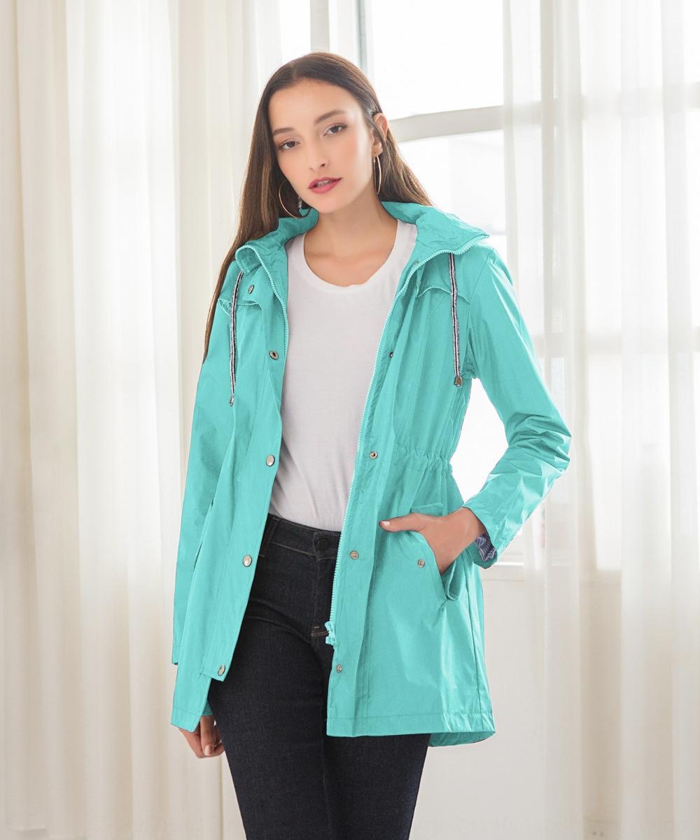 y22L0 LDJKz waist casual waterproof hooded hooded mid-length raincoat for women New casual waterproof clothing for waist mid-length raincoat
