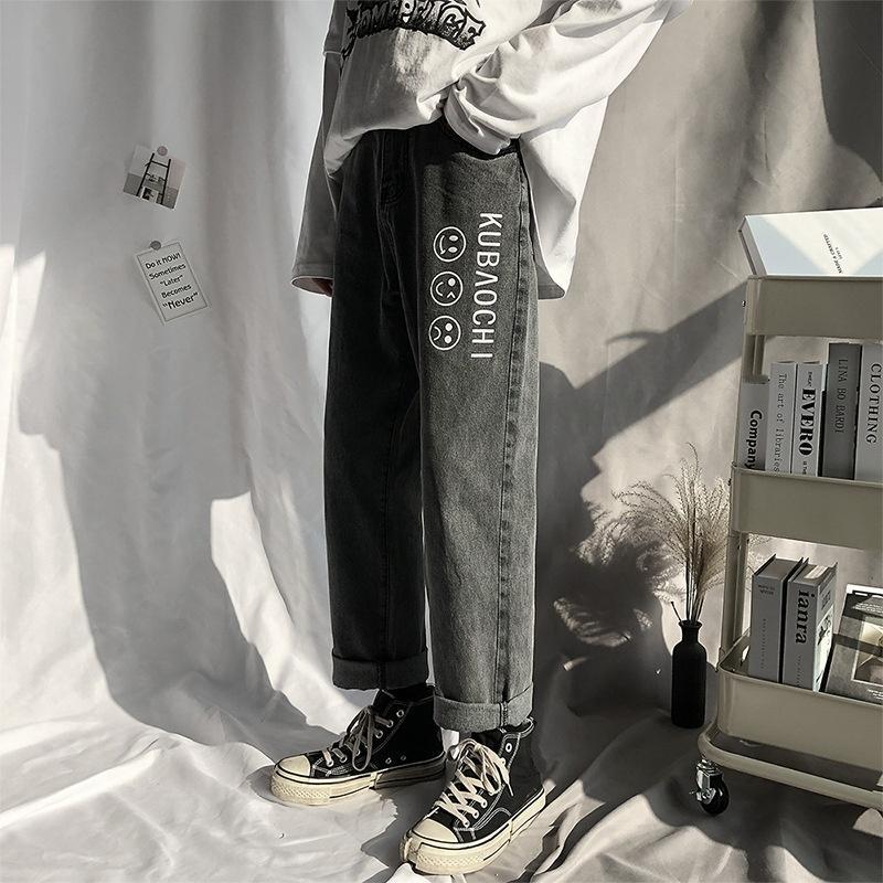 Harajuku джинсы стиля мужских моды бренд трусики трусики свободный прямые брюки корейского стиля модного Ins осенью и зимой мальчики брюки mxXjF