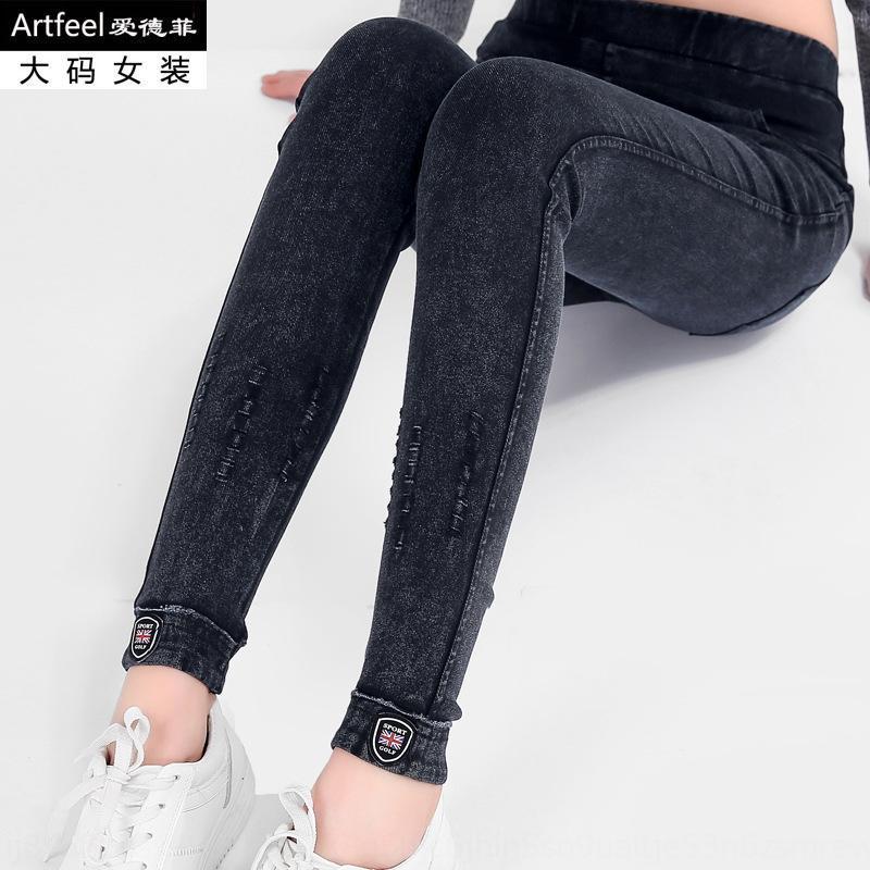 Le printemps de grande taille vêtements pour femmes pantalon féminin 300 kg étiquette TyVK4 pantalon cheville en cuir décoratif et pantalon poche petits pieds