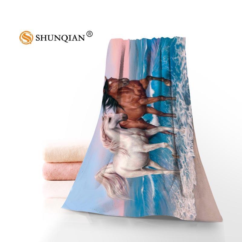 Полотенце изготовленные на заказ лошадь животных напечатанные хлопчатобумажные лица / банные полотенца из микрофибры для детей мужчин женский душ A8.8