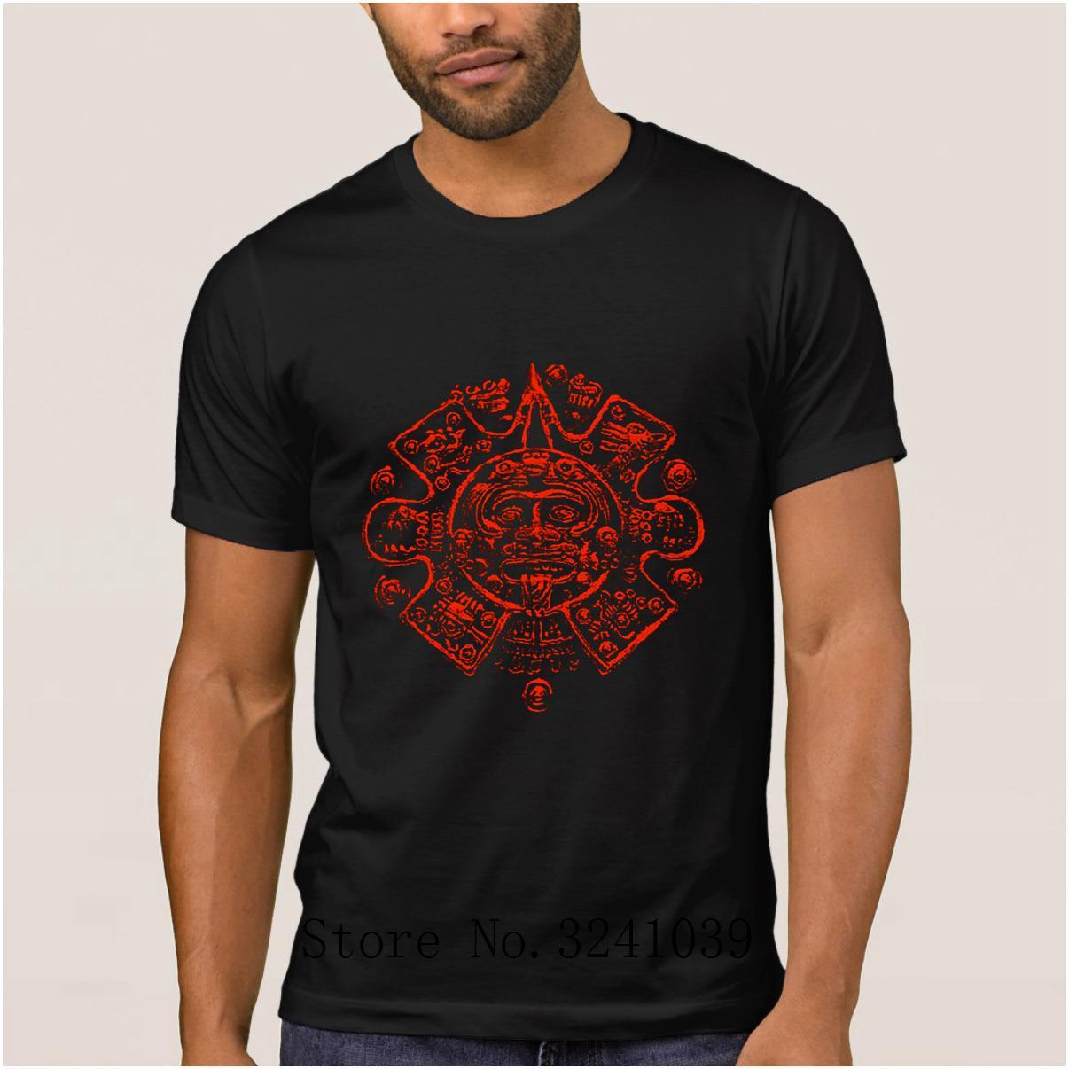 Anlarach impresión azteca auténtica facepng maya camiseta luz del sol barato regular de la camiseta de la letra camiseta hombre grande el tamaño de calidad superior