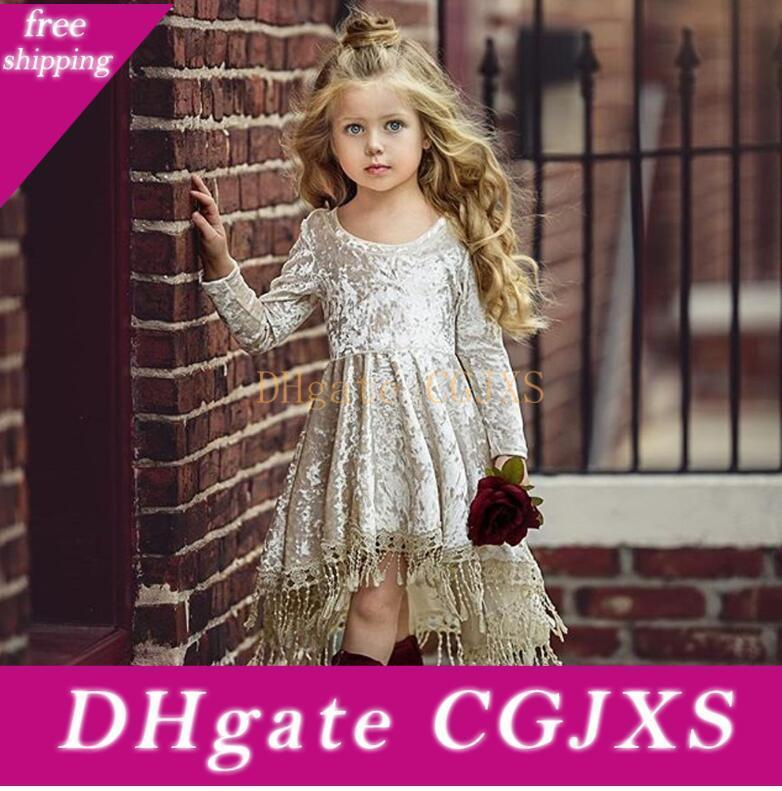 Baby Kids Sequins Glitter Tassels Long Sleeve Dress Silver Velvet Party Princess Clothes Outfit Children Clothing Wholesale
