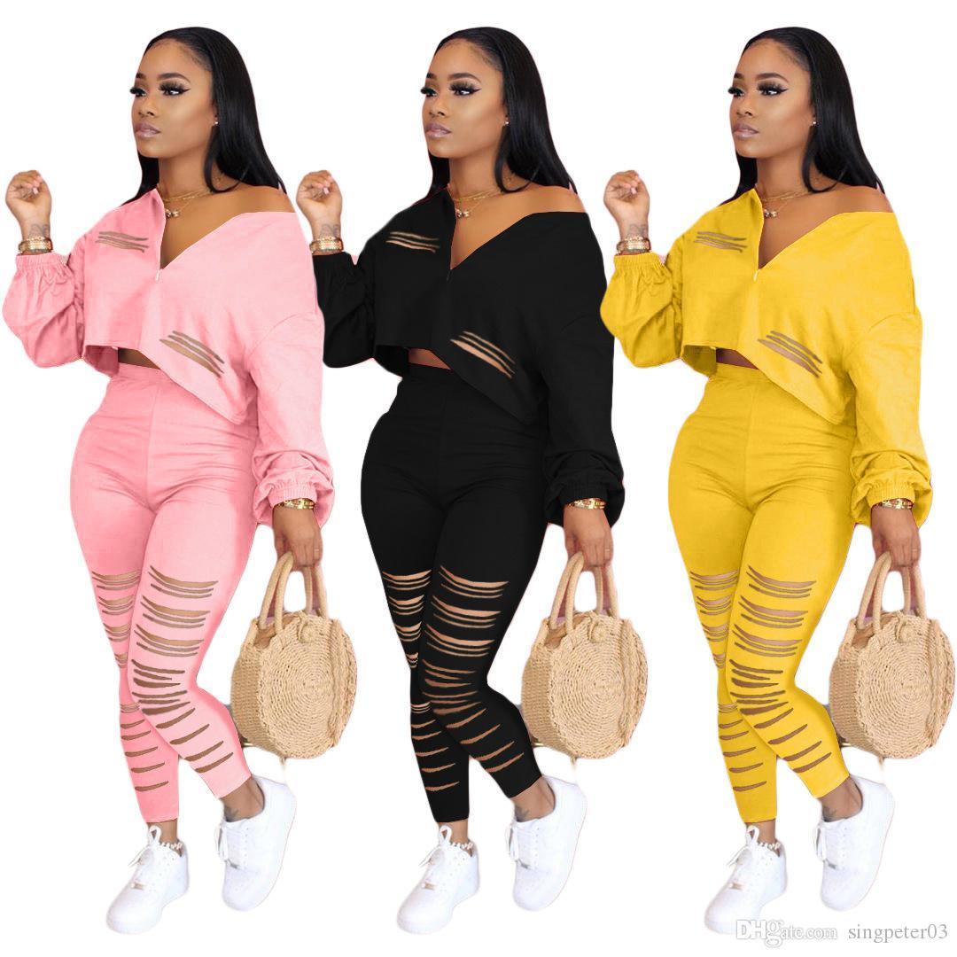 Kadın Giyim 2020 İlkbahar Ve Yaz Katı Renk Çiçek yanan Spor İki parçalı Seti DHL