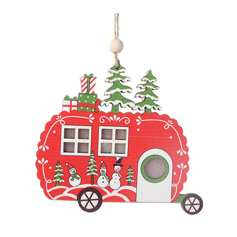 Wood Hanging Romantic Tree Decoration Home Christmas Pendant Party With Light