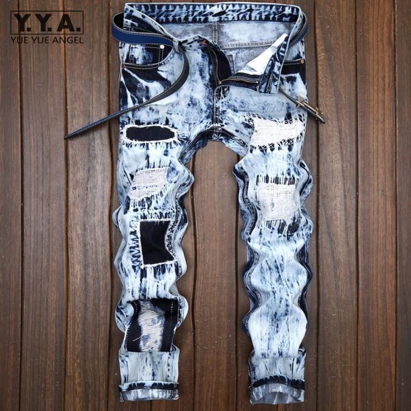 Sıcak Satış Erkek Punk Jeans Man Patchwork Açık Mavi Erkek Jeans Yıkanmış Fermuar Homme Kot Pantolon Sıkıntılı Delik Pantolon