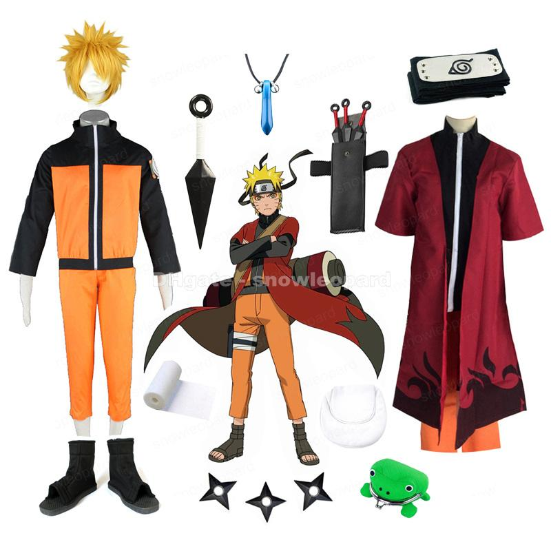 Uzumaki Naruto Cosplay Costume Whole Set Fairy mode Cloak Coat Capri-pants Wig Shoes Prop Mens Halloween Clothing
