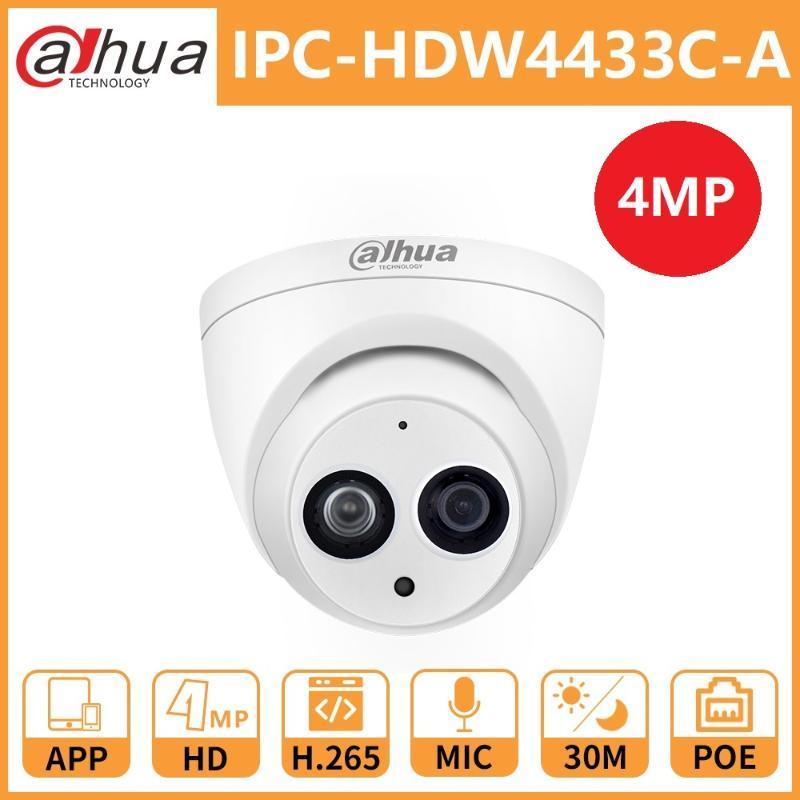 Dahua IP-камера IPC-HDW4433C-A 4MP HD PoE ИК 30M ночного видения Starlight Камара Mini Dome безопасности Встроенный микрофон сетевых камер
