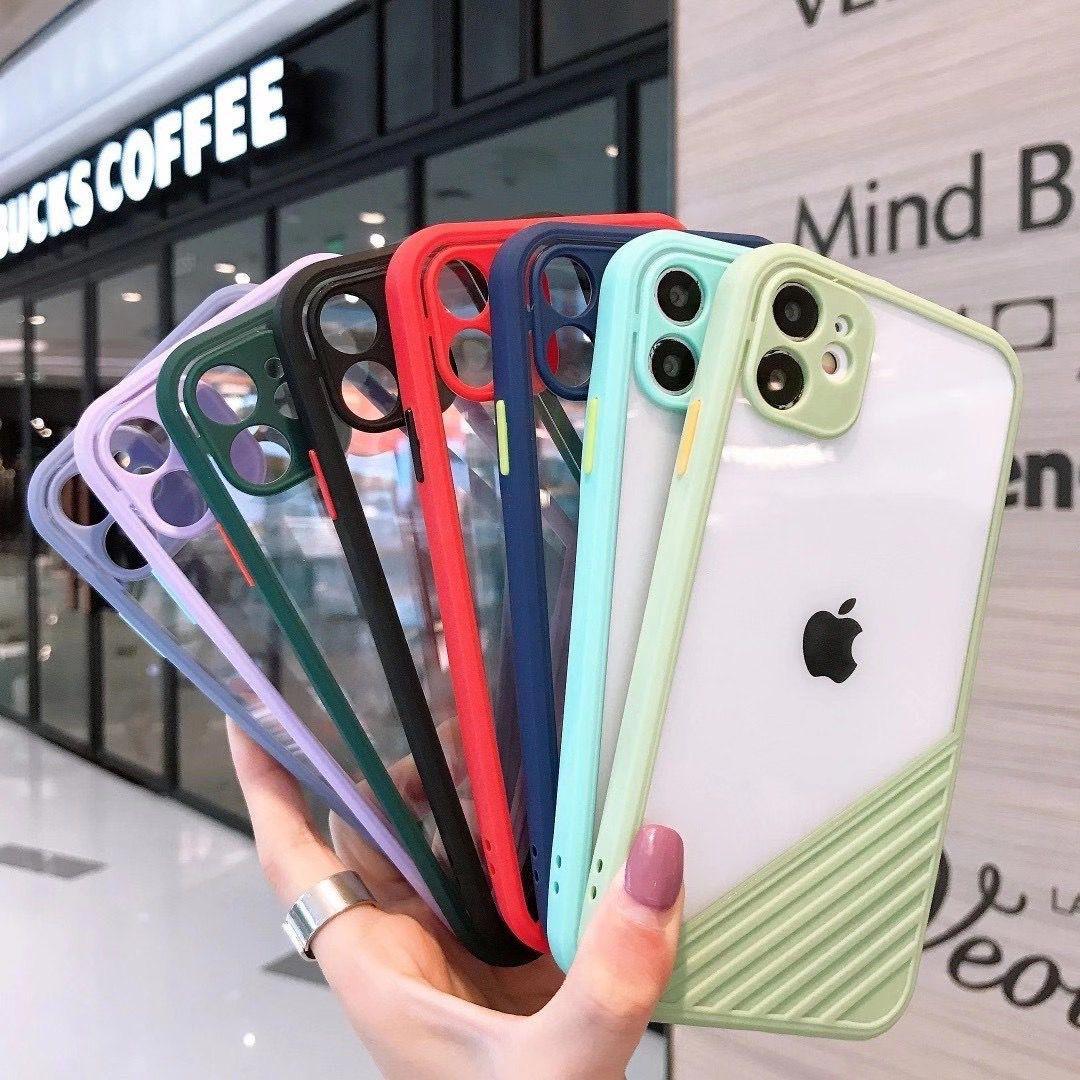 Cas transparent pour iPhone 11 Pro X XS XR Max Protection de la caméra PROTECTION 6S 7 8 PLUS PLUS ÉTAPE DE POITE DE POITE DE POITEUR SOCK SOPE