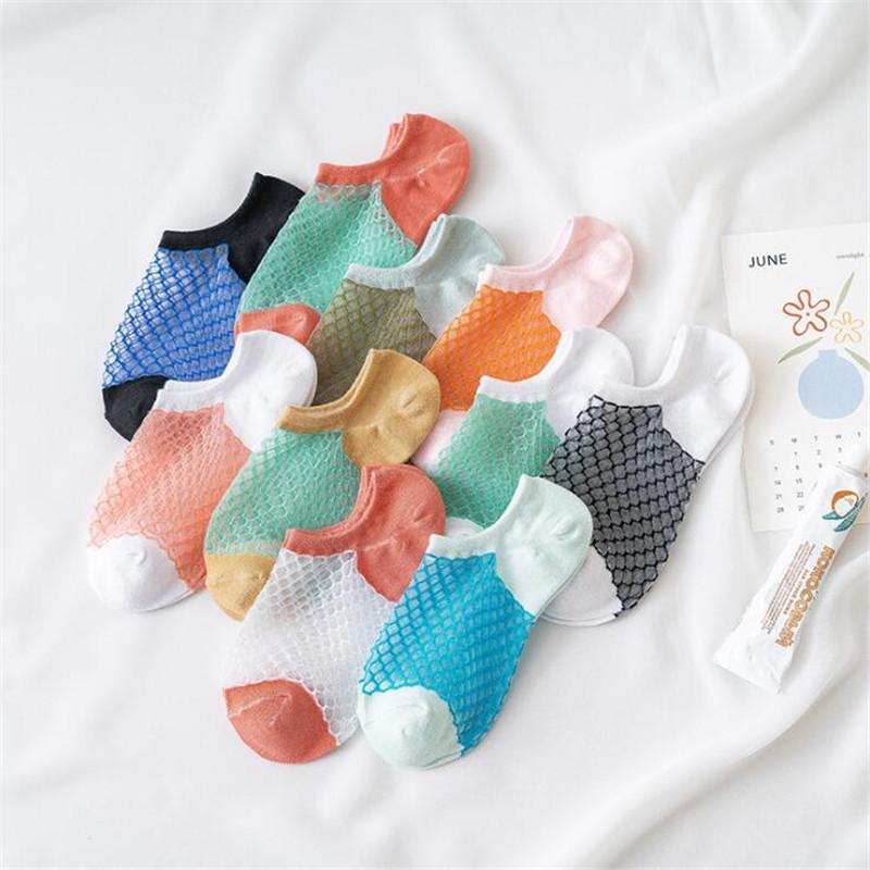 Nueva calcetines cortos Mujeres antideslizante invisible de verano color sólido del acoplamiento del tobillo calcetines del barco de silicona Mujer Algodón Zapatilla No Show