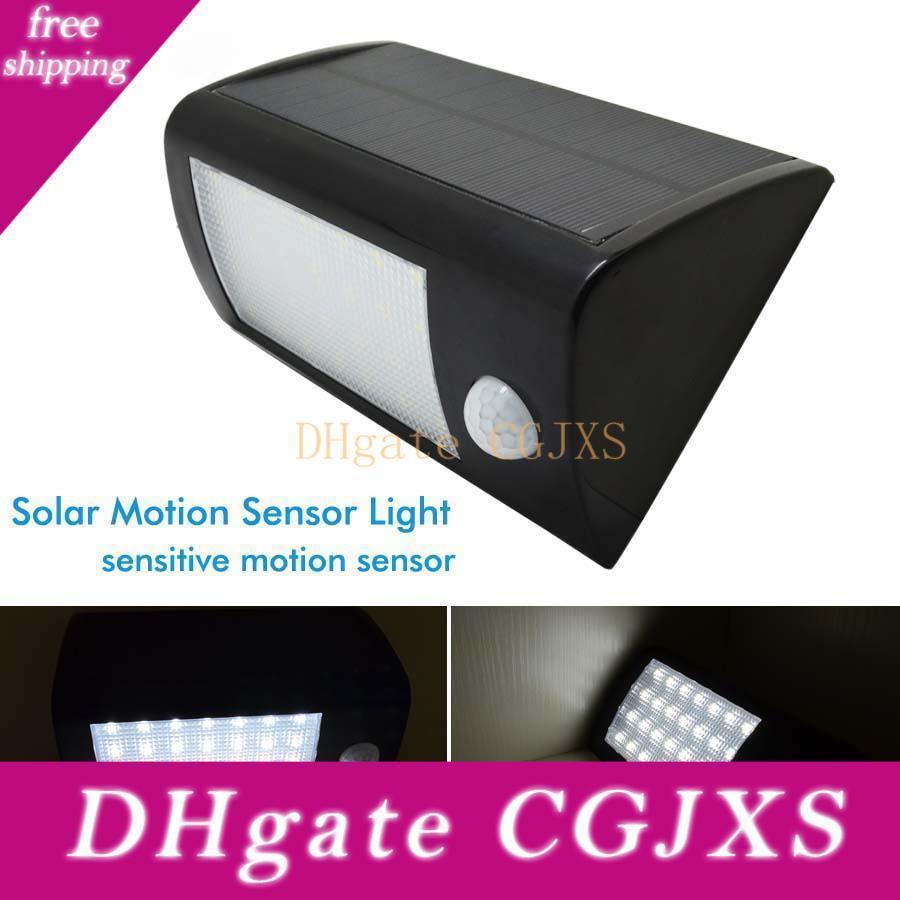 28LEDs 500lm Capteur de mouvement solaire Lampe extérieure solaire Panneau décoratif éclairage Lampe de jardin étanche IP65 de sécurité Noir / Blanc Couverture