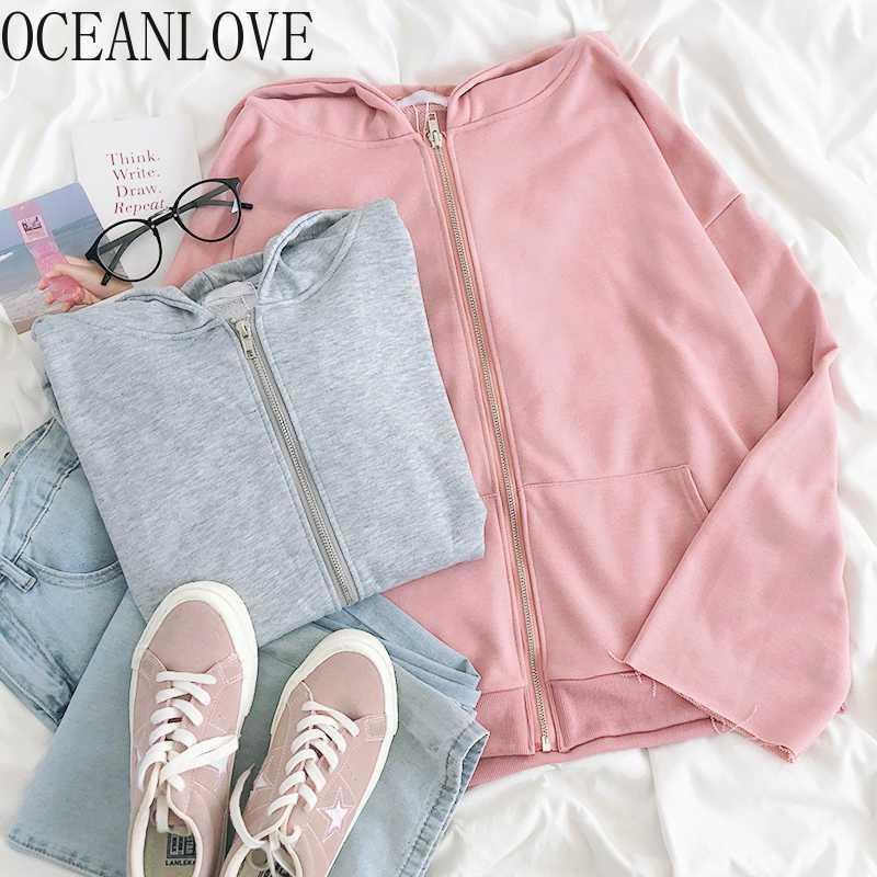 Oceanlove Janpan Stil Pembe Kazak Fermuar Sonbahar 2020 Kapşonlu Hoodie Kawaii Katı Öğrenci Giyim Hoodies Kadınlar 18067