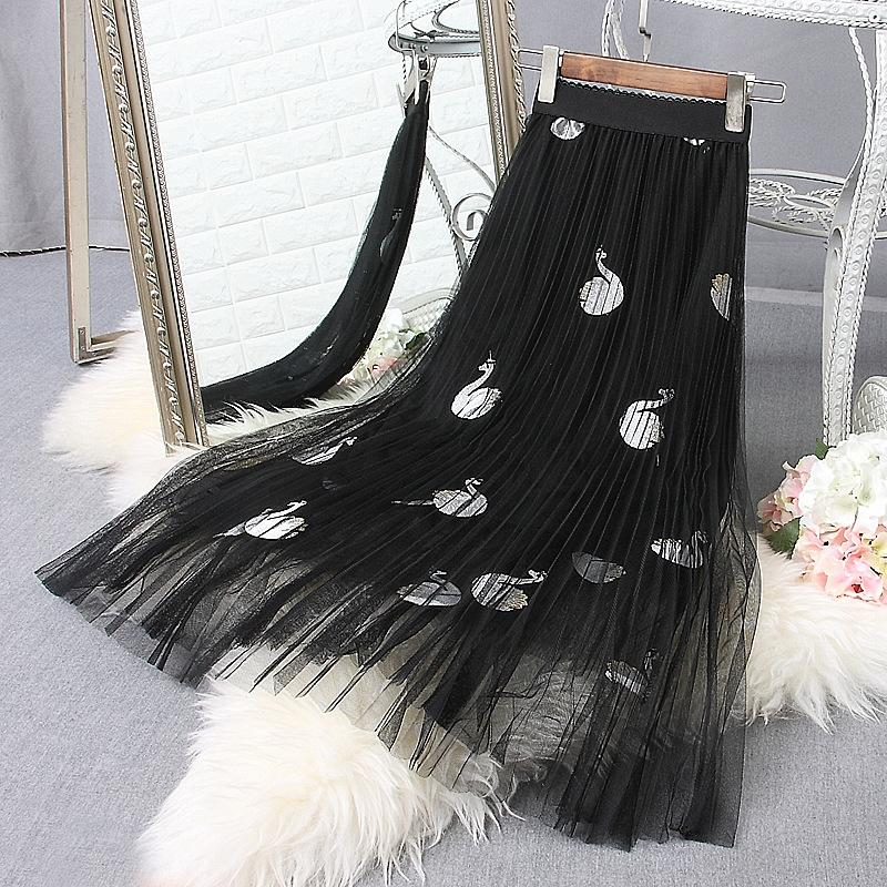 rzzTG Primavera 2020 stile coreano ricamato a rete diretta 2020 stile della molla New coreano delle donne ricamato pieghe pieghe della maglia gonna s delle donne