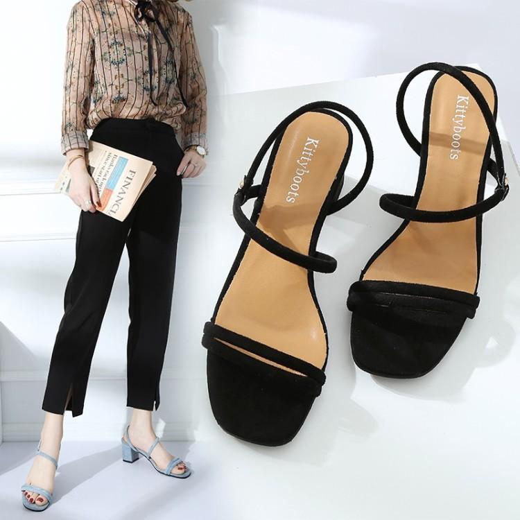 Новая мода женщина сандалии конструктора Толстый каблук низкий каблук пряжка с открытым носком Женщины партии платье Свадебная обувь Одна пряжка Довести Shoes 01D CS02