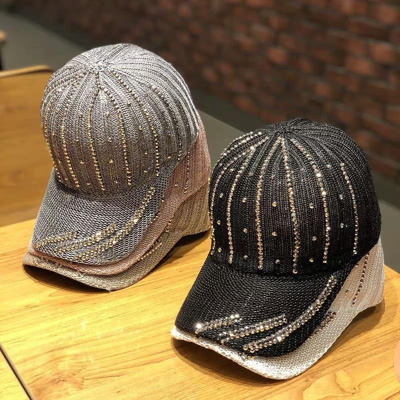 Chapeau baseball creux en été des femmes strass respirant chapeau diamant strass style coréen à la mode tout match chapeau de soleil de mode baseb