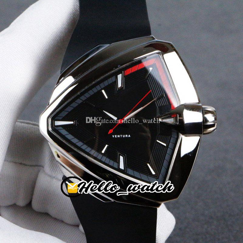 New Ventura Elvis80 Date H24551331 H24555331 Automatic Black Dial Mens Watch Red/Gray Inner Steel Case Rubber Strap Watches Hello_watch HM14