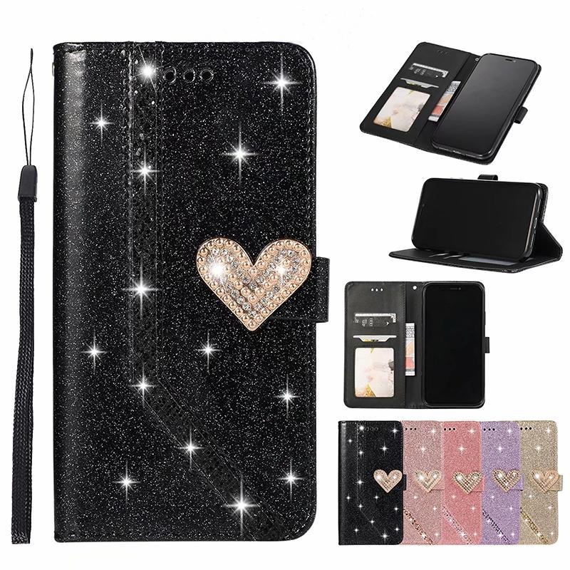 cgjxs Manyetik Kalp Bling Elmas Glitter Ayaklı Deri Cüzdan Kılıf için Iphone 11 Pro Max Xs Max Xr 6 7 8 Artı Samsung S10 Artı Note10 Artı