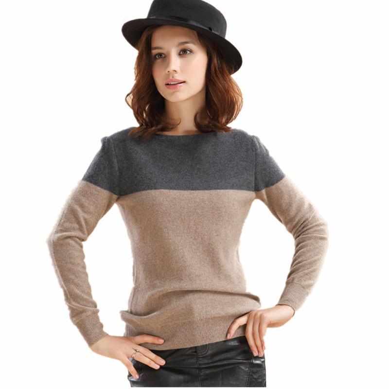 2019 der heißen Verkauf Frauen Kaschmirwollmischung Pullover weiblicher Kontrast Farbe O-Ansatz Basic-Pullover Langarm-freies Verschiffen T200817