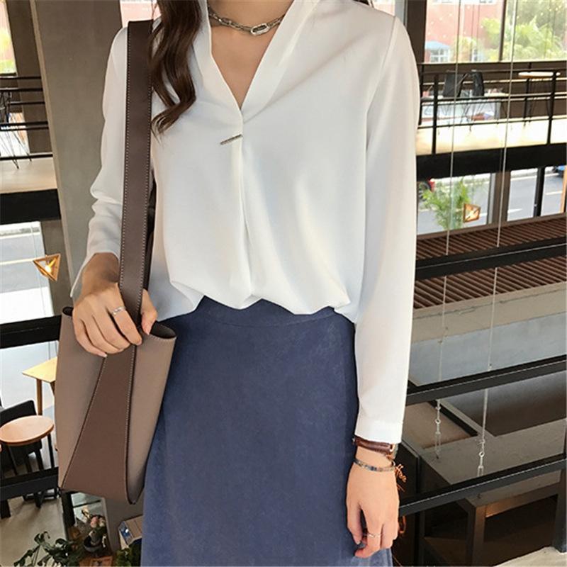 yPMC6 bRkWj Herbst der neuen koreanischen Stil eleganter V-Ansatz solide Konstruktion lange Hülse Frauen sanfte Shirt Nische Licht vertraut Farbe Sinn Arthemdes
