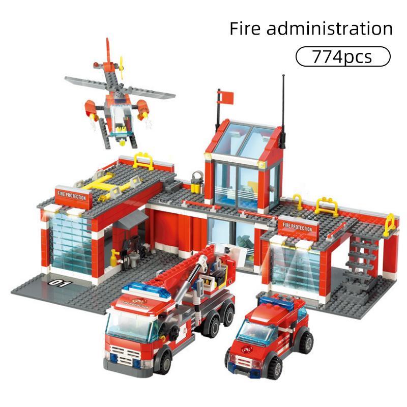 774/300 قطع مدينة النار محطة نموذج اللبنات متوافقة البناء رجال الاطفاء رجل شاحنة تنوير الطوب اللعب الأطفال