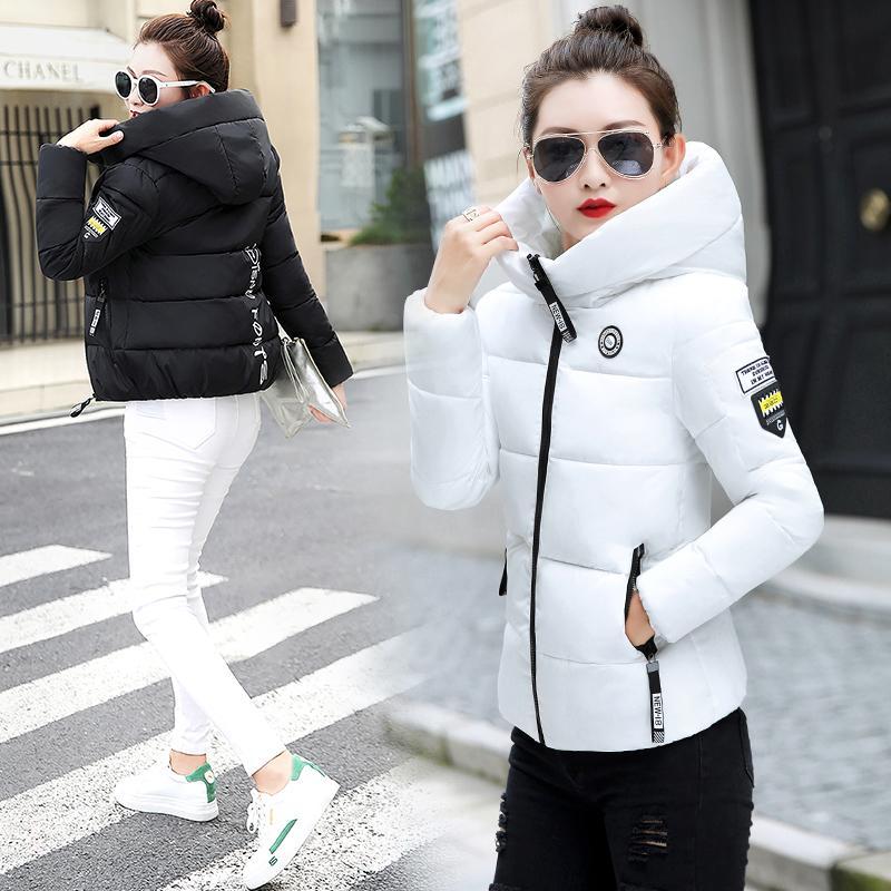 2020 ropa de la mujer delgados del invierno caliente de la capa con capucha Mujer sólido más el tamaño de cortocircuito de la cremallera Outwear la chaqueta de algodón acolchado chaqueta