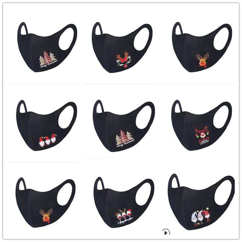 Viso Natale Maschera adulti maschere nere maschera facciale faccia fascino riutilizzabile Xmas Tree Babbo Elk Snowman Stampa Cartoon Mouth copertina E92301