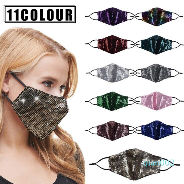 Bling Bling maschera di protezione 11 Colori sottile versione respirabile di estate Protezione solare paillettes mascherina mascherine lavabile viso può mettere 120pcs filtro CCA12435