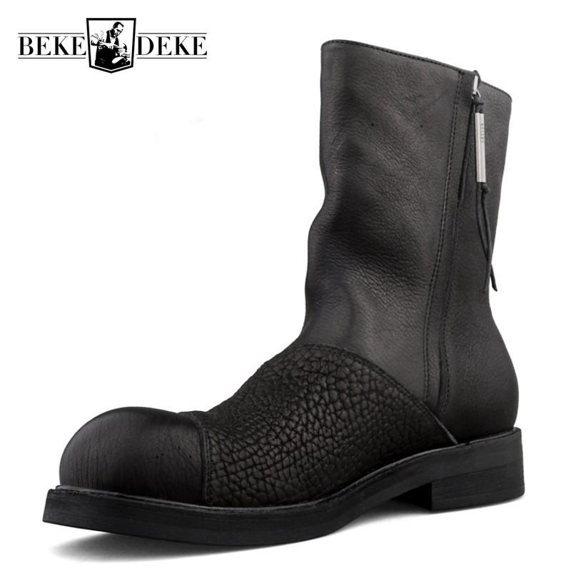 Retro Harajuku-Herbst-Winter Mens echtes Leder-Boots Fashion-Seiten-Reißverschluss-runde Zehe-starke untere Male Kurze Stiefel Plus Size