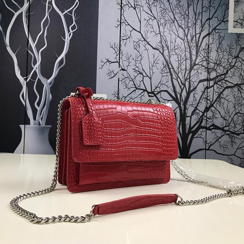 Mulheres Bag Crocodile Cadeia Couro Bolsas de Ombro Couro Padrão Único Shoulder Mensageiro Cadeia Bag Red Moda Crossbody Bag Purse Type6