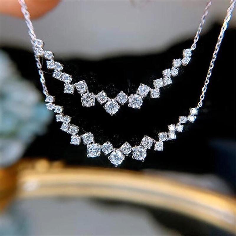 Choucong Victoria Nouvelle arrivée de luxe Bijoux 925 Coupe ronde en argent sterling blanc diamant CZ Gemstones Promise Clavicule collier pendentif cadeau