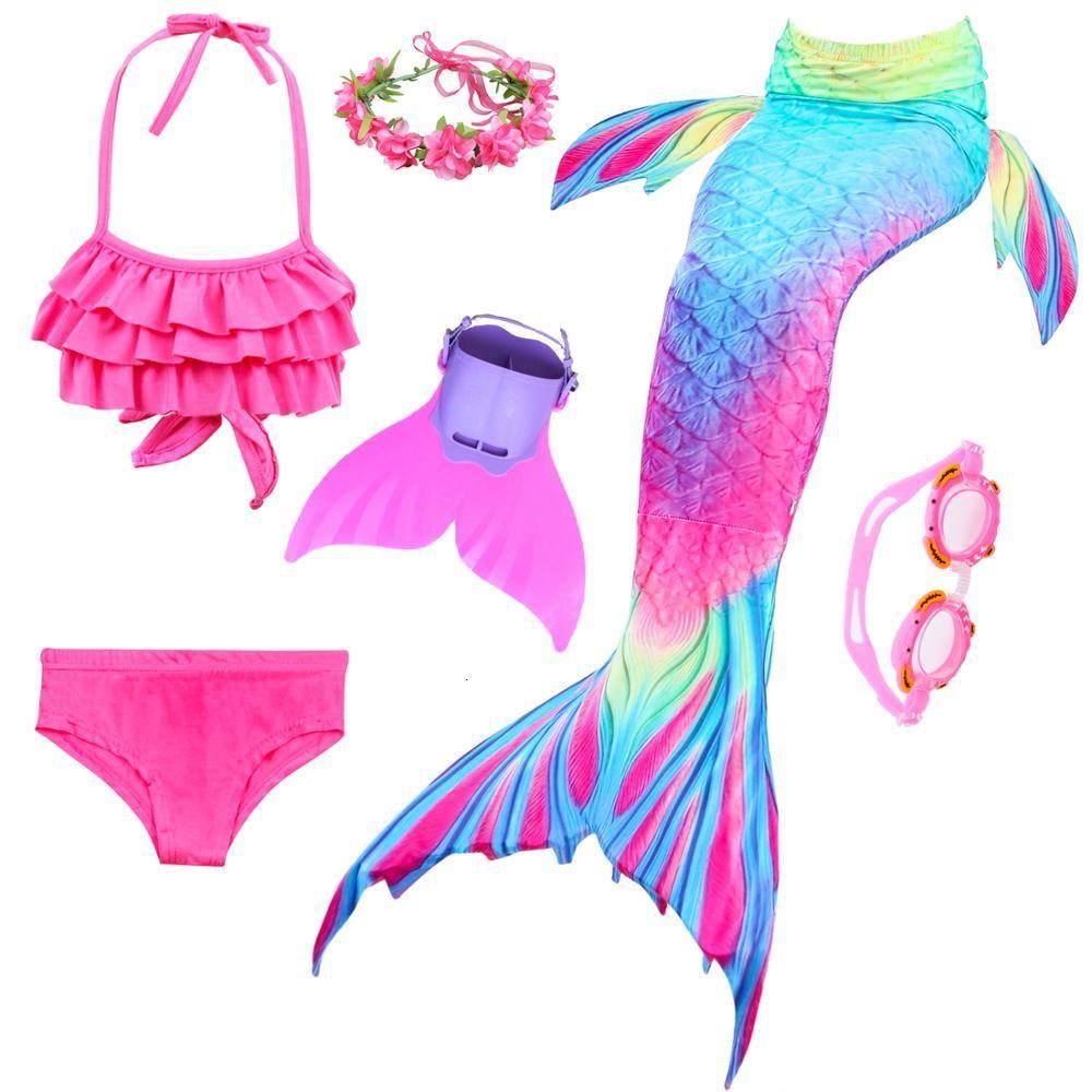 Mermaid Tail Skirt Swimmable Swimwear Swim Cosplay Costume Monofin Kids Girls