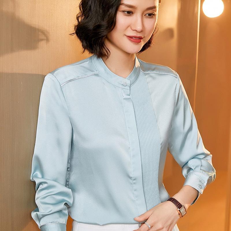 H0cDd uzun Kadın bahar ve yaz K45zj kol rengi yeni hepsi maç dut ipek standı yaka katı gömlek moda Batı tarzı İpek gömlek