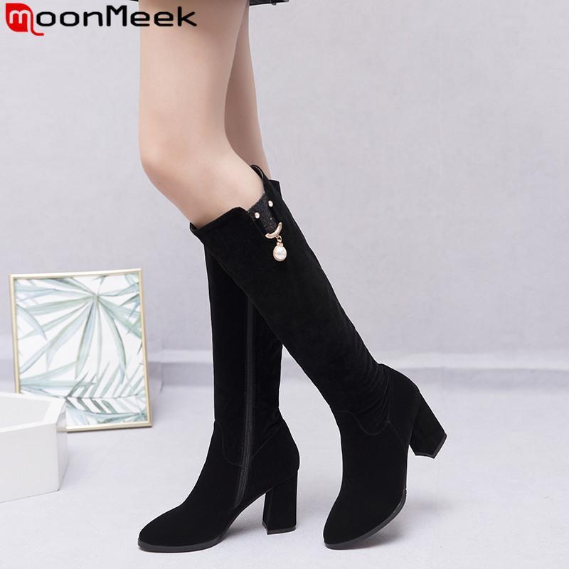 MoonMeek 2020 vendita calda stivali alti al ginocchio nuova donne rotonde stivali signore punta zip affollano i tacchi alti promenade grande formato 34-43