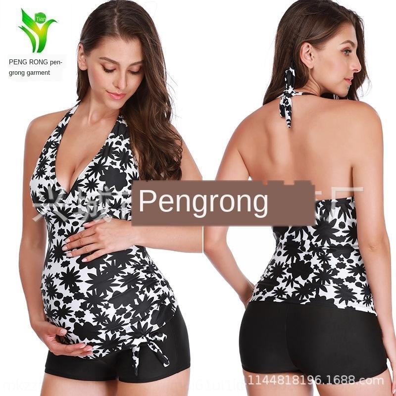 kNlGK 5JOts 2020 nouveau imprimé et blanc et maillot de bain enceintes fendit femmes nouveau modèle noir noir imprimé 2020 motif blanc femmes enceintes »