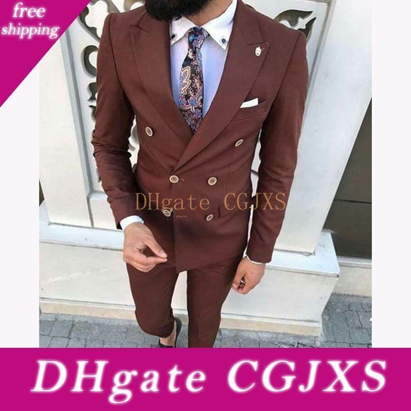 New neuesten Entwurf zweireihiger Brown-Hochzeit Bräutigam Smoking Spitze Revers Groomsmen Herren Abendessen Blazer Suits (Jacke Hosen Krawatte) 421