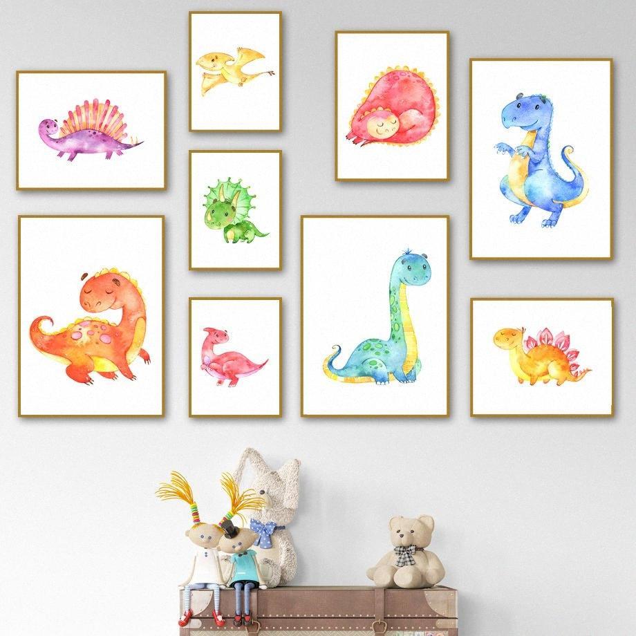 Bebek Sevimli Dinozor Karikatür Çocuk Odası Duvar Sanatı Tuval Nordic Posterler Ve Baskılar Duvar Resimleri İçin Çocuk Odası Dekorasyon Lbr8 # Boyama