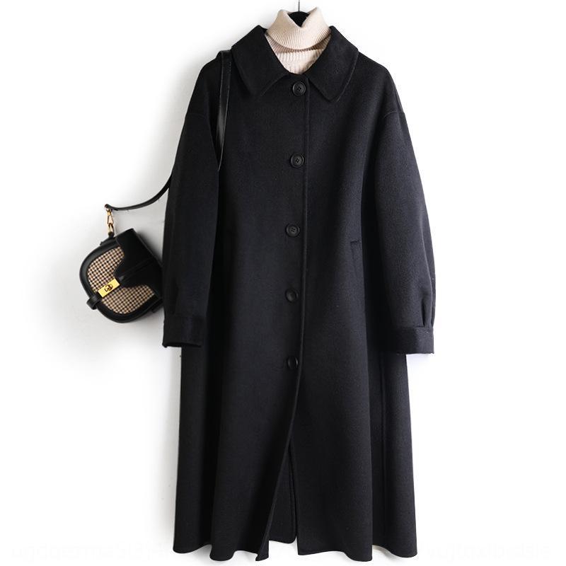 zRrMa cosida mano-Shuang Mian ni longitud 2020 nueva gama alta de la lana de doble cara de un solo pecho abrigo de lana capa de las mujeres