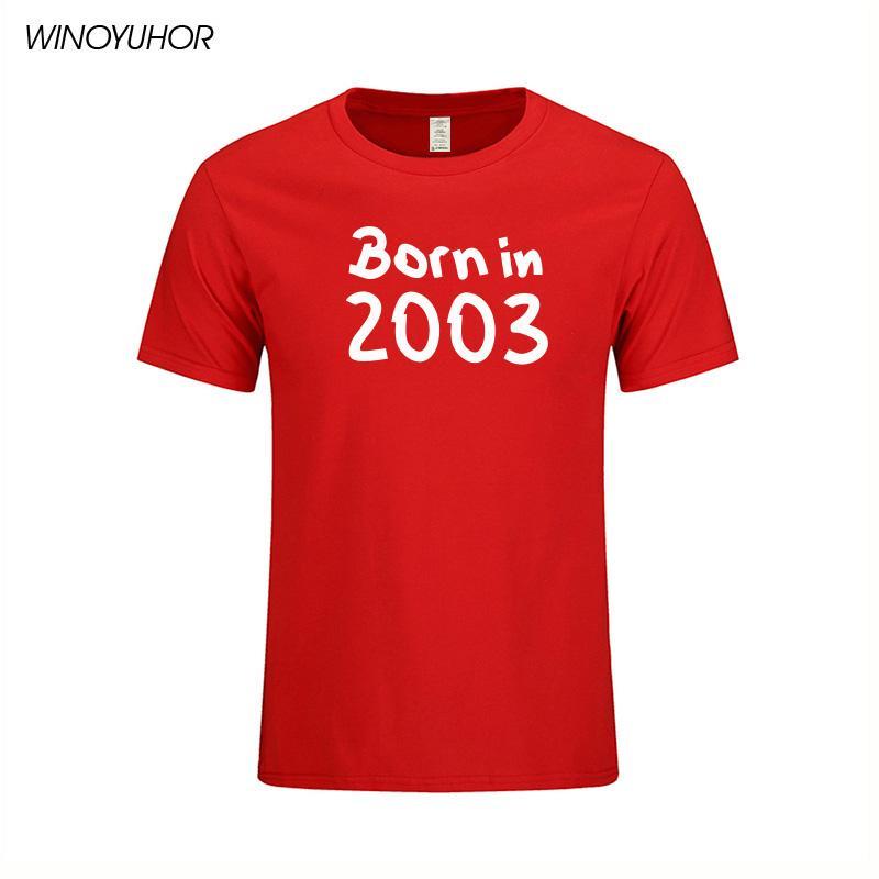 Tees Pamuk Erkek giyim 16. Doğum Günü Hediye yazdır 2003 Mektupları Yaz Kısa Kollu O-Yaka T-shirt Men Tops Born