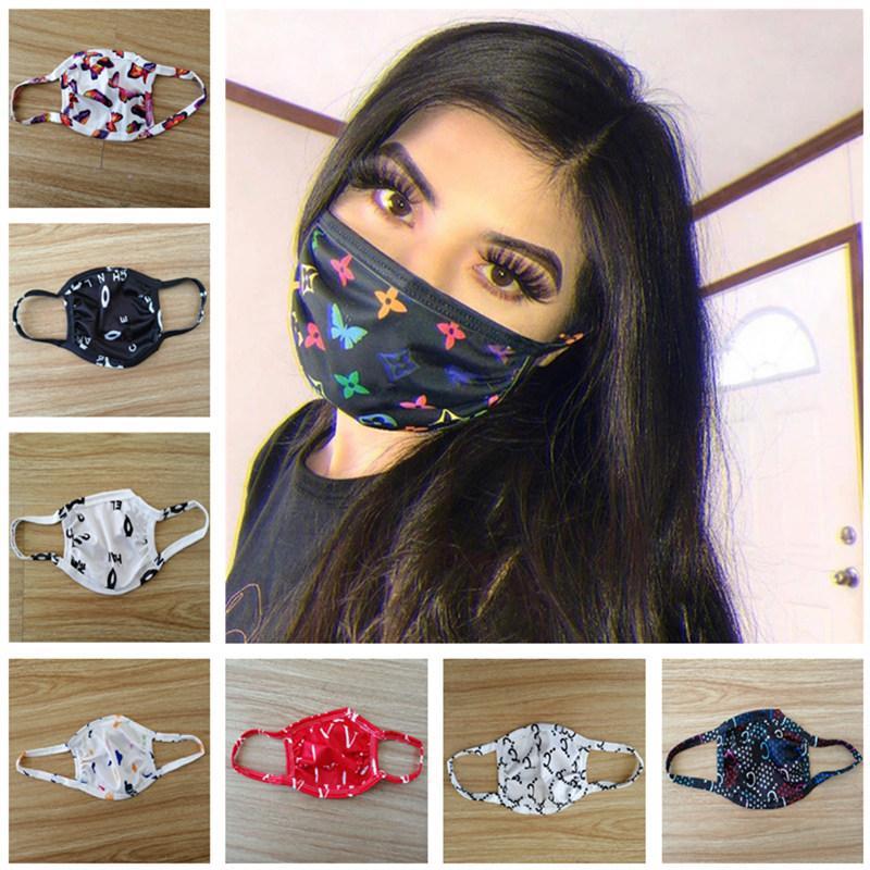 2020 mujeres de la mascarilla letra de la manera impresión máscaras protectoras de polvo respirable Boca-mufla de moda Imprimir regalo lavable mascarilla de máscaras al aire libre Deportes