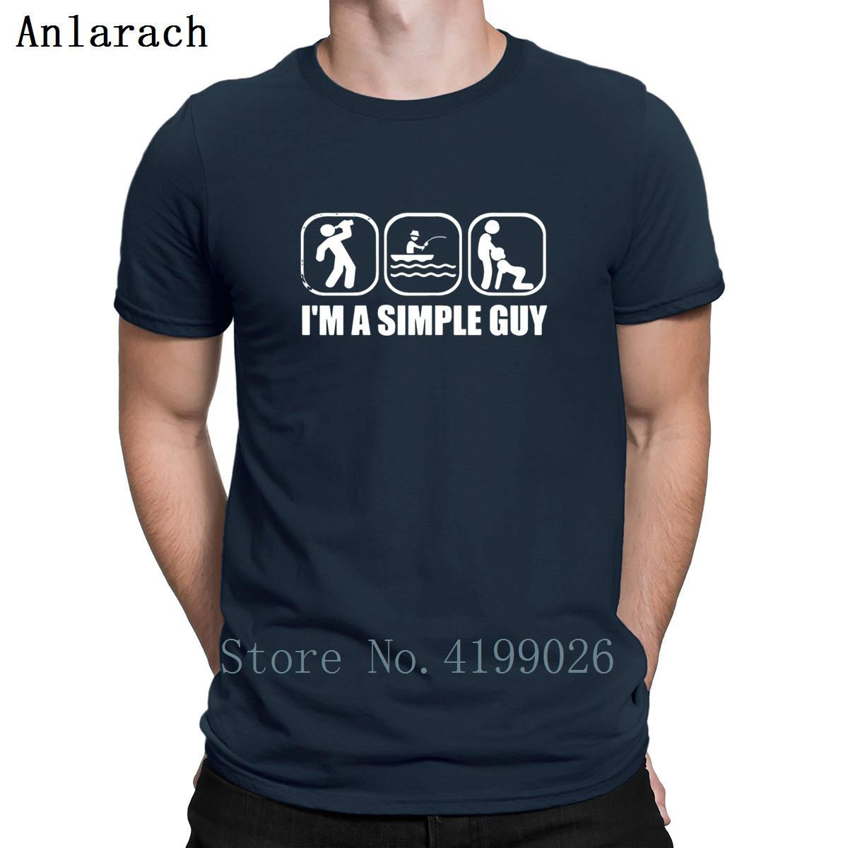 Ben Am Basit Bir Guy Balık T Shirtss Otantik Bahar Kırışıklık Karşıtı Vintage T Gömlek Kişilik Erkek Üst Tee Tee Gömlek Plus Size