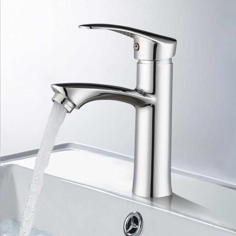 Estilo europeo de latón grifo del lavabo del cuarto de baño fría y agua caliente del grifo de mezcla sola manija grifo de lavabo de colada