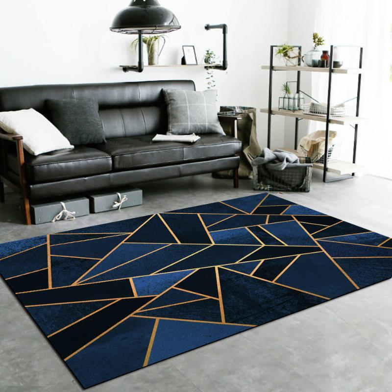 Líneas geométricas alfombras para sala de estar moderna Azul Gris Negro Oro Verde Amarillo triangular mármol Alfombras nórdica Ins Decoración