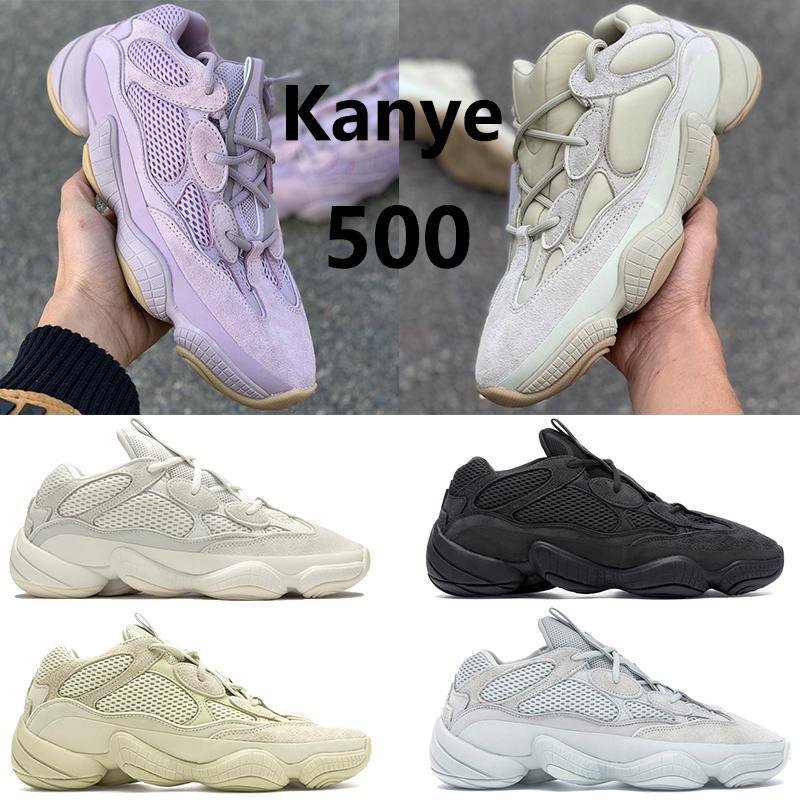 Con la caja de rata de desierto 500 Kanye West zapatos para correr reflectante suaves visión piedra blanca de hueso utilidad hombres rubor sal negro mujeres entrenador zapatillas de deporte