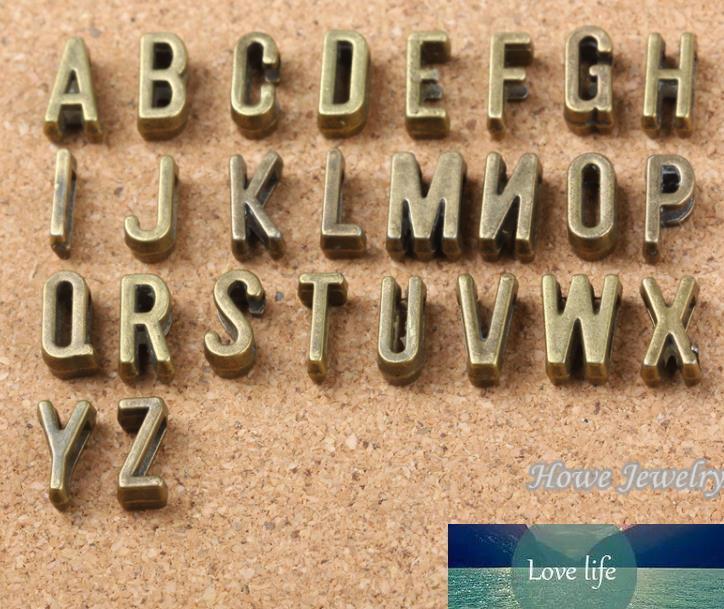 A-Z antiguo letras de plata encantos de la diapositiva en forma de bricolaje pulsera de cuero de 7 mm plana, de palabra del alfabeto Carta 6737