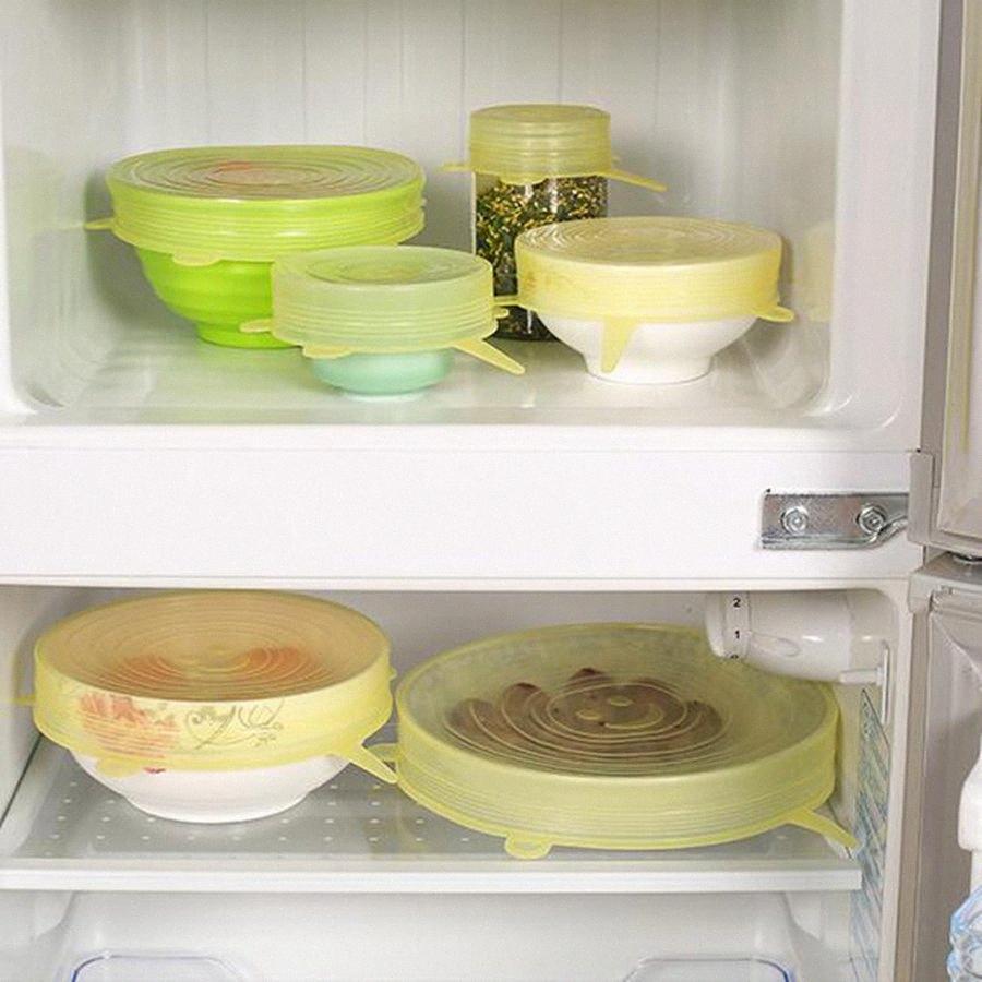 Silikon-Stretch-Staubsaug Topfdeckel 6pcs / set Küchenabdeckung Pan Bowl Stopper Deckel Durable Obst Gemüse Lagerung Lids OOA8064 w8HI #