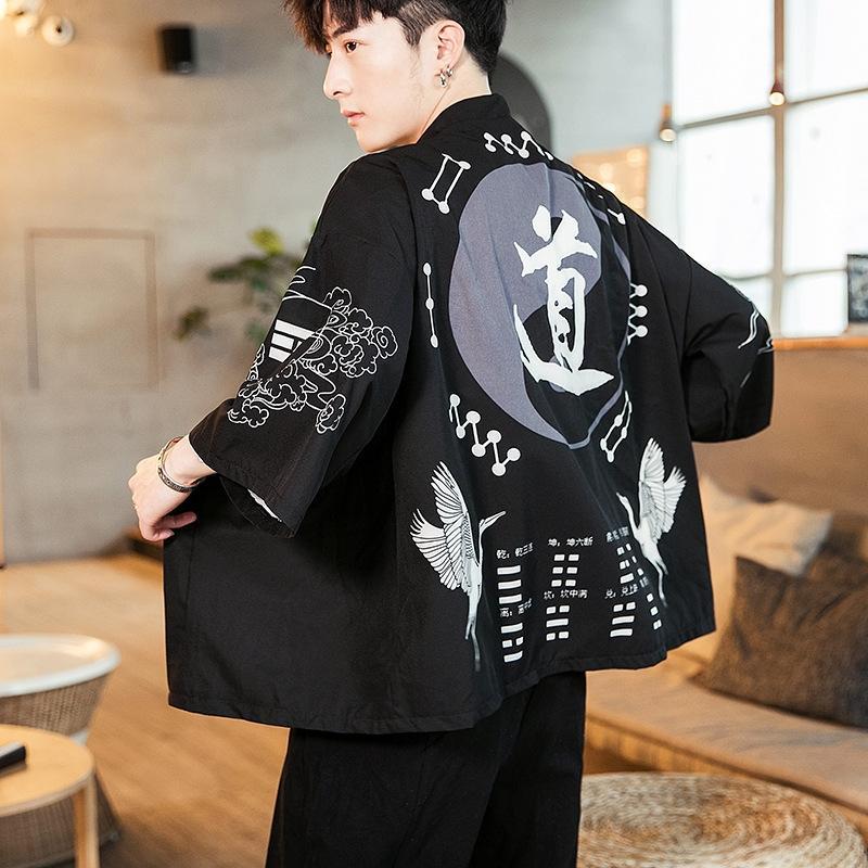 cardigan stile cinese giacca a vento kimono maschile mantello nuovo kimono di tendenza giovanile mantello maschile Windbreaker 31YLx 2019 estate