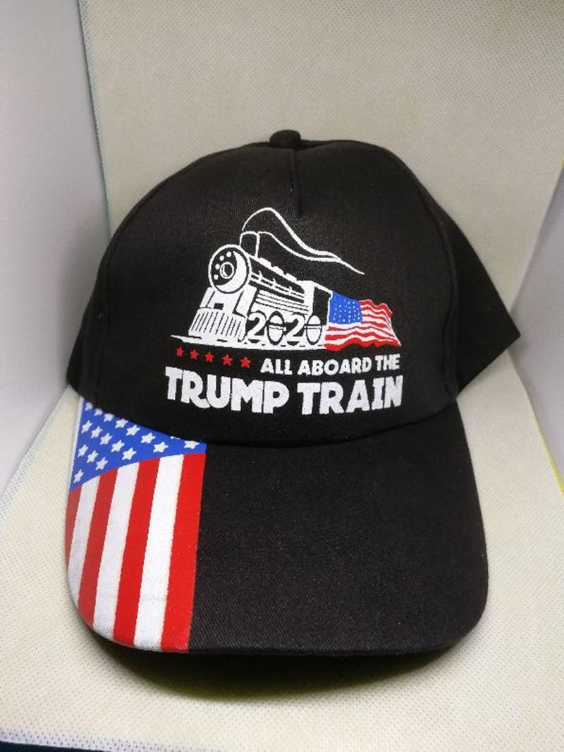 2020 Дональд Трамп Поезд Бейсболка на открытом воздухе вышивка Все на борту поезда шлема спорта Trump довершение звезды полосатый флаг США Cap шляпы LJJA3379-5