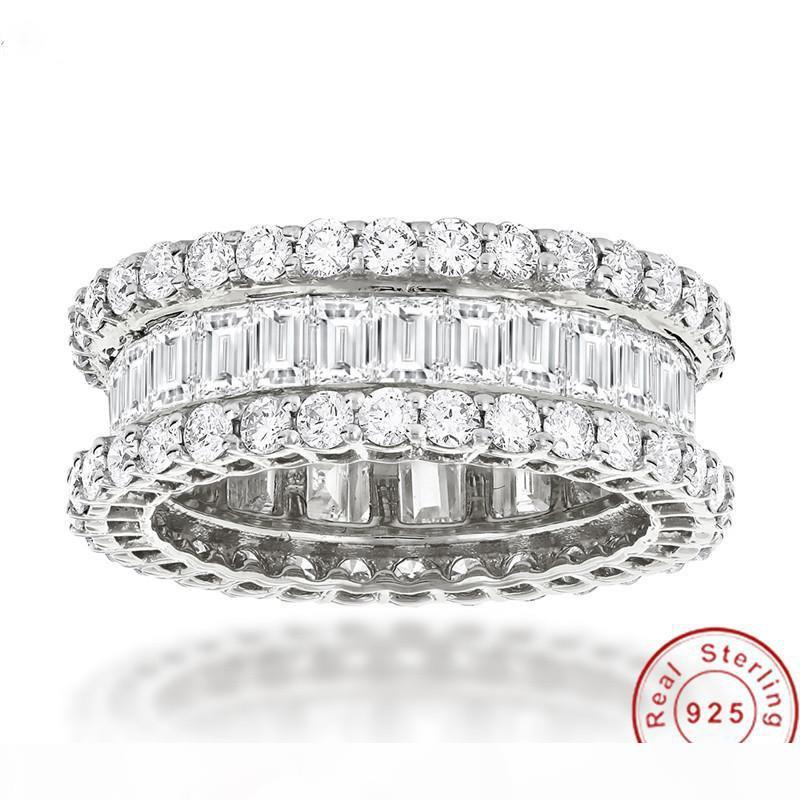 Boulevard Eternity Promise Ring 925 sterling silver Diamond Party Wedding band rings for women Jewelry