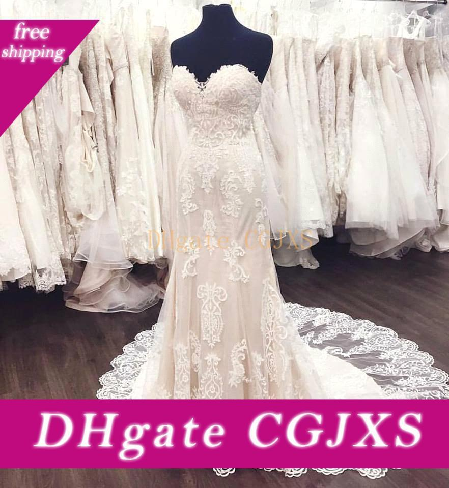 Ivory Sheath Sweetheart Lace Wedding Dresses 2017 Long Sweep Train Lace Appliqued Bridal Gowns Custom Made Vintage Wedding Gowns 6406